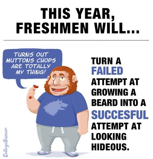Predictions for This Year's Freshmen - (Click to see rest)  Colleges  will always have freshmen, and freshmen will always find  increasingly  stupid ways to embarrass the rest of the campus. It's the  circle of  collegiate life. As such, we've put together a series of  predictions to  help you better prepare yourself for this academic  onslaught of  inexperience.
