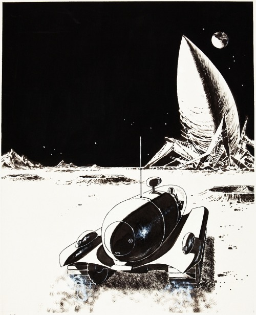 scanzen:  Emsh (Edward Emshwiller):Moon of Mutiny, book cover, original art, 1961. (Lester Del Rey: Moon of Mutiny, Holt, Rinehart & Winston Publishers, New York, 1961.)