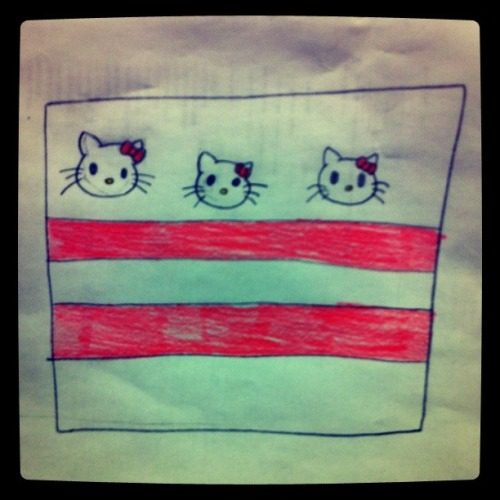 dcdocent:  DC Flag as interpreted by a local teacher's student! Cute!  3 meows, 2 bars.