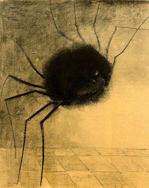 victoriasrustyknickers:  'The Smiling Spider' Illustration by French Painter Odilon Redon (1840–1916) - 1891 via Wikipedia