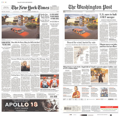 Alright, who gave this Hurricane Irene photo better play, the WaPo or the NYT?