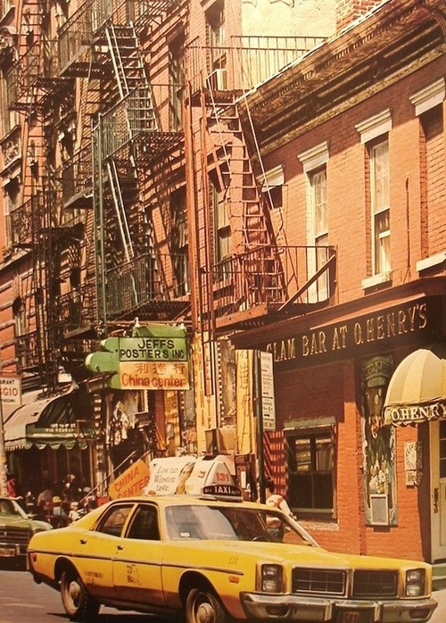 New York City street scene, 1970s.