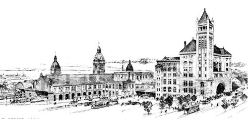 Rendering of the first Union Station & Passenger Annex, Toronto