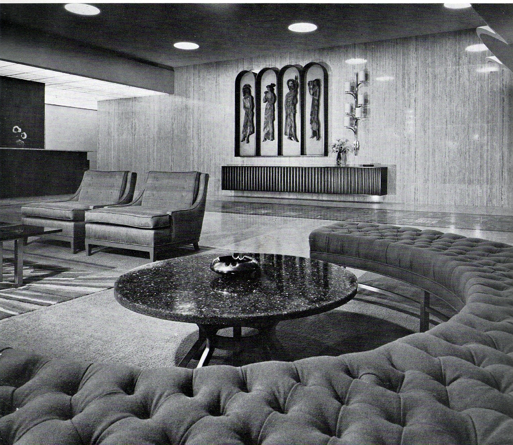 Inside the lobby of Glen Towers, Los Angeles