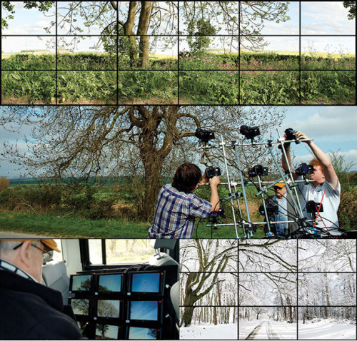 "David Hockney's new videocollages  Hockney is making ""joiners"" with HD video now, instead of polaroids. He always has brilliant things to say, but I loved this bit about drawing as image-making:  For him, drawing is not merely a matter of making lines with a tool; it's fundamentally about constructing a two-dimensional image of three-dimensional space.  And that it's all about using new technology to find new ways to make images:  An exhilarating aspect of Hockney's approach is that it widens art history into a unified account of pictures, images, of all kinds—handmade, photographic, cinematic, televisual. They are all part of the same story…A basic point for Hockney is that all art is based on technology. The paintbrush, as he says, is a technological device.  Really great piece. Love Hockney."