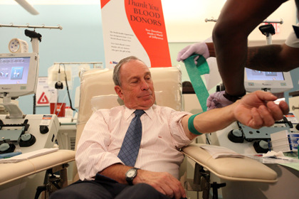 azipaybarah:  The official caption: Mayor Bloomberg donates blood at New York Blood Center's emergency blood drive. August 30, 2011 (Photo Credit: Spencer T Tucker). And your caption…