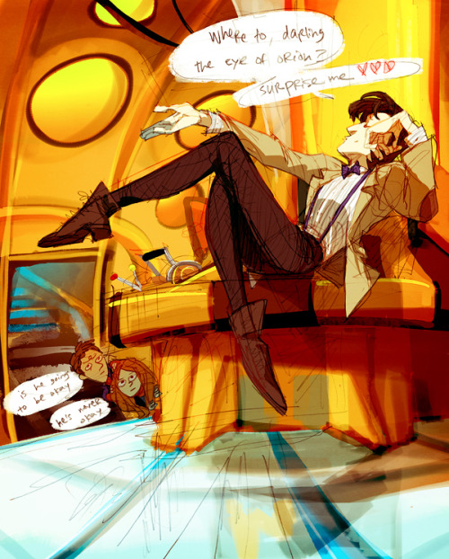gingertreeshark:  While Rory 'n Amy are away, the Doctor can play?