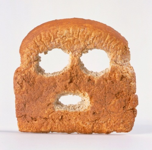 "3rdofmay:  The art: Matt Johnson, Breadface, 2004. The work is made of cast plastic and oil paint. The news: This week NPR's Fresh Air is featuring a week of programs on food. Food is one of Western art's classic subjects, so MAN will feature a special food post each day. Today: Slices of bread. Think of them as post-war American art's take on the classic, food-packed Dutch or French still-life. For more on the subject — and some of the artworks featured here today, see this post on Modern Art Notes and a smart response from Kriston Capps. The source: Hammer Museum, which featured Breadface in the 2005 exhibition ""Thing: New Sculptures from Los Angeles."" The show was curated by James Elaine, Aimee Chang and Christopher Miles. Note: An apparent, er, cousin of Breadface appeared in a Nissan commercial the year after the work was on view at the Hammer…"
