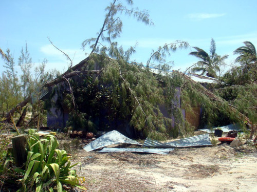 Rum Cay got extensive damage from Hurricane Irene.  This is the infamous Kaye's Bar & Restaurant owned by Delores Wilson.  Kaye's lost the roof off the building and a lot of damage from flooding.