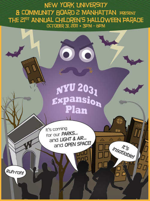 Greenwich Village Anti-Expansionists Submit To NYU's Halloween Contest, Probably Won't Win NYU is holding a contest to design this year's 'Halloween Parade cloth tote trick or treat bag.' This is historical preservation group GVSHP's submission. No $500 NYU Bookstore giftcard for them. Plenty of blog cred, though.