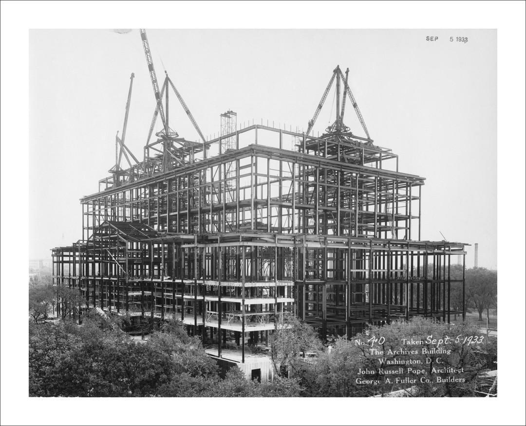 Dated September 5, 1933, this photograph shows progress of the exterior framing of the National Archives Building in Washington, DC. Construction on the building was first started in September, 1931.