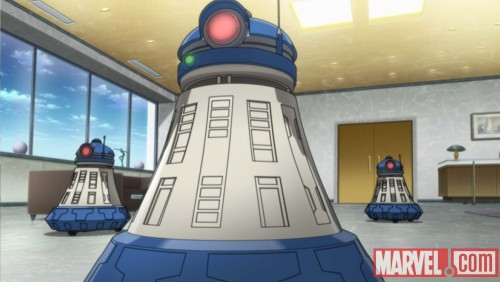 These robots from the Iron Man Anime look like a cross between a Dalek and R2-D2. I want one. Also, Iron Man versus a shark!