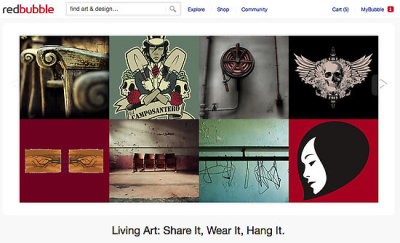 My (Untitled) design on the RedBubble homepage, August 25, 2011. (That's her in the lower right-hand corner.)