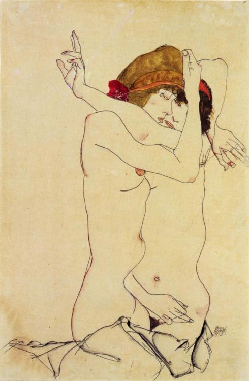 thomaswylde:  'Women Embracing' by Egon Schiele