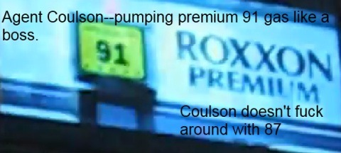 "Coulson gasses his car up like he lives his life—PREMIUM.   From the new Coulson short ""A Funny Thing Happened on the Way to Thor's Hammer"