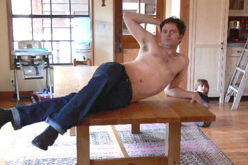 So, if a buy a table from Offerman Woodshop, is a half naked Rainn Wilson thrown in? Like it matters!