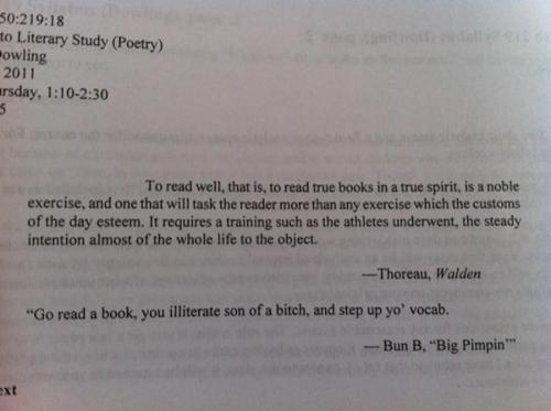 The syllabus to an English class at Rutgers. If I was a professor, I would do shit like this all the time.