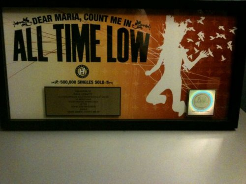 my brother got his gold record for Dear Maria by All Time Low! So proud!