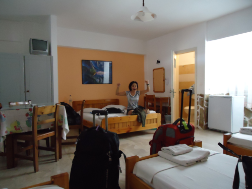nenengelsewhere:  Our Santorini room was much bigger, but the bathroom there was my least favorite. The shower was almost directly next to the toilet with no shower curtain.  Honestly, I think I stayed in the exact same room of the exact same hostel in Santorini as you, Jenn. What are the odds??