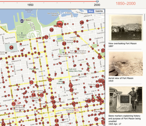sunfoundation:  Old S.F., An Interactive Map of 16,000 San Francisco Photos Since 1850  Old S.F. is an interactive map of  16,000 geotagged photos of San Francisco from the time period 1850 to  2000. The photos are sourced from the San Francisco Public Library's Historical Photograph Collection, which includes some 40,000 photos. Old S. F. was created by Dan Vanderkam and Raven Keller.