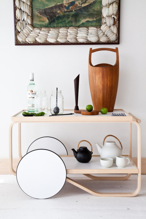 simplypi:  a lovely alvar aalto trolley with the perfect dansk teak ice bucket.