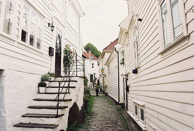 | ♕ |  White houses in Bergen - Norway  | by © Jim Holland