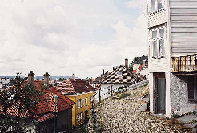 | ♕ |  Lovely Bergen view from hillside street  | by © Jim Holland