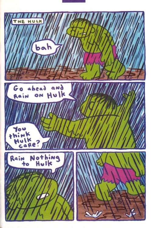 superpunch2:  Hulk vs. the Rain (by James Kochalka).  .