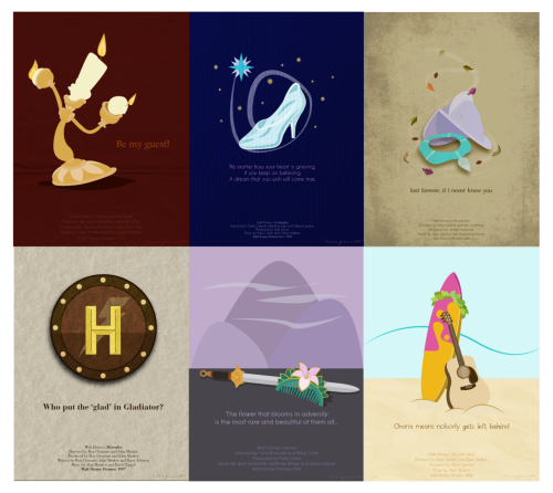 minimalmovieposters:  Disney Series: Beauty and the Beast, Cinderella, Pocahontas, Hercules, Mulan and Lilo & Stitch by Trixie Pama