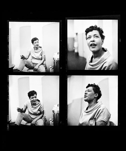 Contact sheet of Billie Holiday in studio, photographed by Phil Stern in 1955 (via missavagardner)