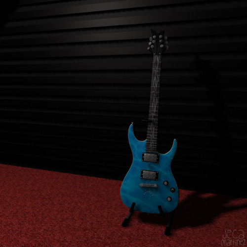 3D model of a guitar made with Maya(final project for my 3danim1 class)