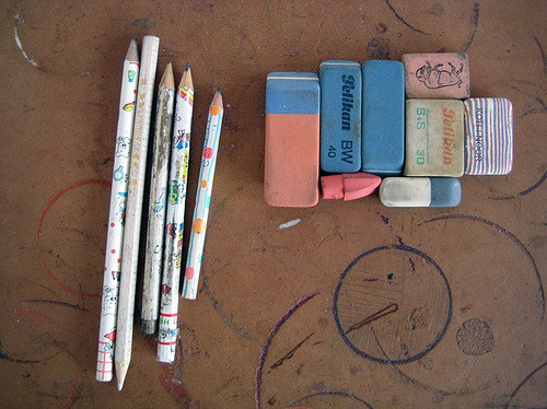 pencils and erasers (by miekewillems)