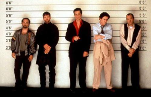 dadsamoviecritic:  Some great trivia from 'The Usual Suspects' (1995).  This scene originally was to be played as a very serious scene, however the actors kept cracking up with Benicio del Toro (as Fred Fenster) flubbing his lines. It eventualy became a constant laugh fest amongst the actors (leading Director Bryan Singer's constant anger with the scene). But after reviewing the dailies, Singer realized that it actually played better into the character's profiles.