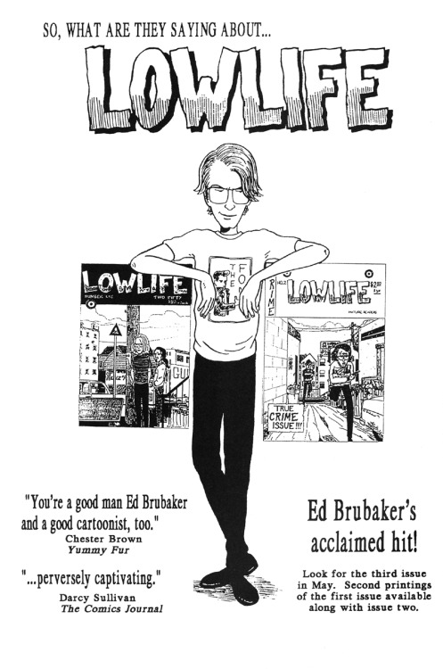 Promotional ad for Lowlife by Ed Brubaker, 1992.