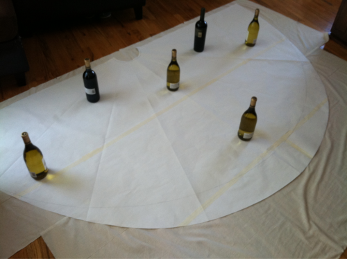 Been working on a draft of the skirt portion my wedding dress all day. Wine as weights = win.