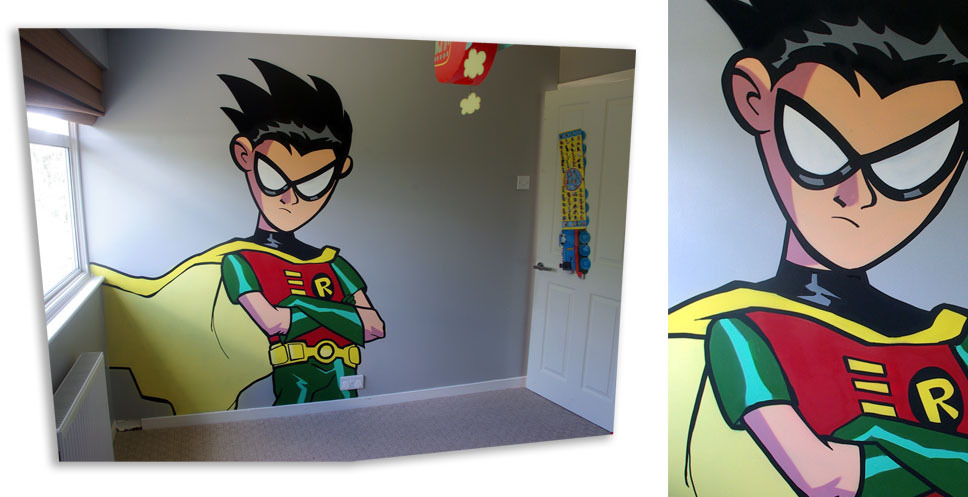 herochan:  Teen Titans style Robin wall art - by riot68 Artist note: Painted for my 3 year old in his bedroom.  Genius!