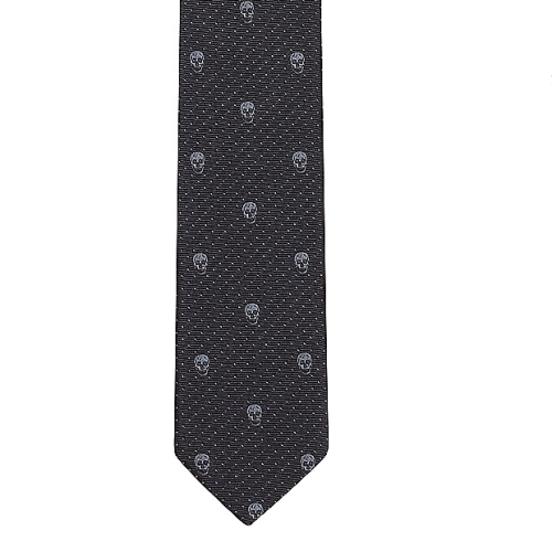 Alexander McQueen Navy/Blue Polka-Skull tie.Worn by Moriarty in The Great Game. Available in BLACK/ BROWN/ ROSE/ GRAPHITE/ & STONE.Purchase here at alexandermcqueen.com £90 / $145