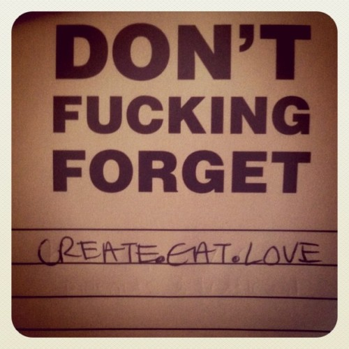 Don't Fucking Forget - Create Eat Love's first post!!!