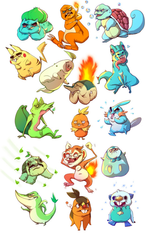 "justinrampage:  It's a wild group of Pokemon given a crazy redesign by deviantARTist Katie Hillman. Now you must choose your favorite! ""Who was your starter? Personally, I'm a fan of any creature that's sole grasp of vocabulary is yelling its own name."" - Ian Brooks I Choose You by Katie Hillman (Twitter) Via: ianbrooks"