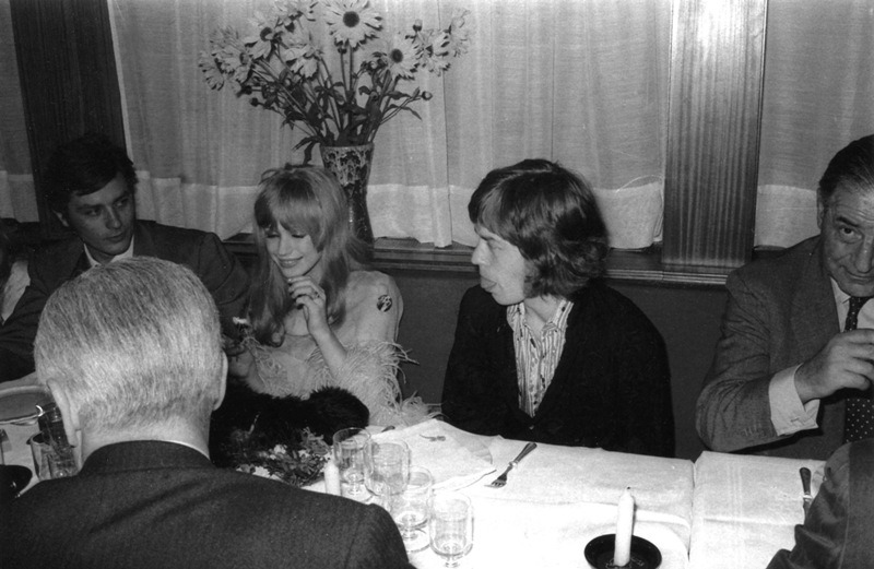 Alain Delon, Marianne Faithfull and Mick Jagger.