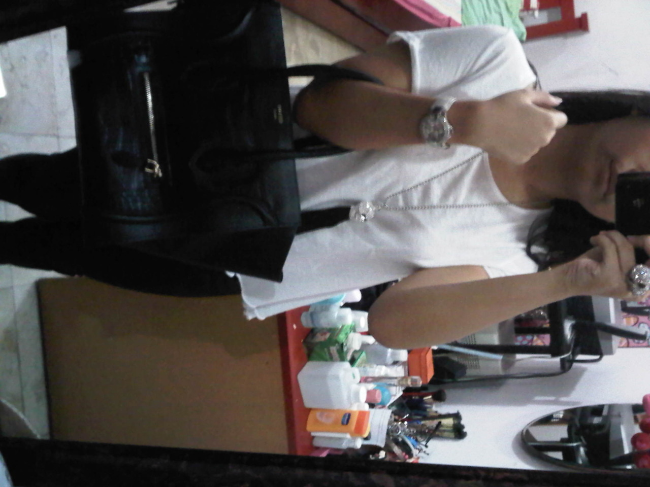 "Today's outfit : Zara basic white tee, Bleulab Reversible black coated jeans, Celine crocodile skin ""Boston"" bag, skull ring and necklace and Tory Burch leopard printed ""Reva"" wedges (not pictured)"