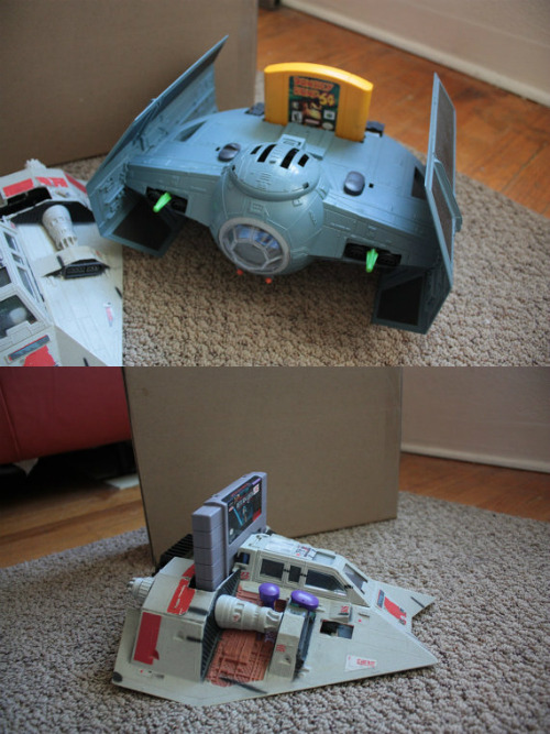 Custom N64 Tie Fighter and SNES T47 Snow Speeder Kevin Glenn modded the guts of an N64 and SNES into a Tie Fighter and Snow Speeder, respectively. These are one-of-a-kind, fully functional consoles and you can get them on his Etsy shop. Now do a Death Star Dreamcast! [Via I.Z. Reloaded]