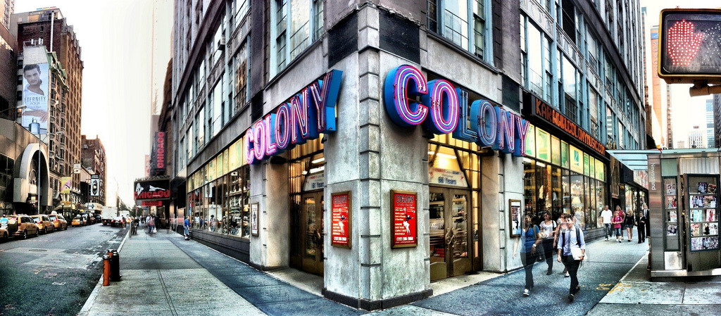 "wentdog:  thecorcorangroup:  Once a mainstay of the Tin Pan Alley music scene, Colony is now the last  man standing, and it shows. The creaky drawers and scarred slide-top  cases of CDs; rows of faded, autographed celebrity head-shots; and bins  of retro concert posters are all hallmarks of a business that still has  one foot squarely in the past. Just like back then, the mainstay of the  store is sheet music; scores and fake books take up the majority of the  space, covering everything from Broadway shows to be-bop. There are also  racks of showtune/soundtrack CDs, contemporary rock and reggae albums,  and boxed-sets of classic vocalists like Bing Crosby and Sinatra. If you  can't find what you're looking for among the substantial inventory,  take heart—the motto of the ""musicologist"" staff is, ""You hum the tune,  we tell you the title."" (text via NYMag)     I could probably live in this place. My kind of joint."