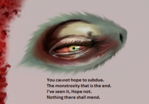 An eye I drew. Text is excerpt from a ballad of mine.