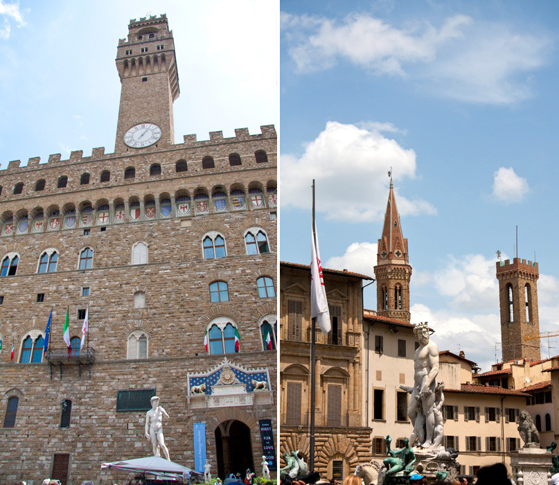 "FLORENCE, ITALY 2011 the left image is the Palazzo Vecchio, or town hall of Florence. the statue to the left of the doorway is a copy of Michelangelo's David. it overlooks the Piazza della Signoria. the Piazza is still the political hub of the city today, a popular meeting place of many Florentines and tourists, and is near the gateway to the Uffizi Gallery. the image on the right is also in the Piazza della Signoria, the statue is titled ""The Fountain of Neptune"" by Bartolomeo Ammannati (1575)."