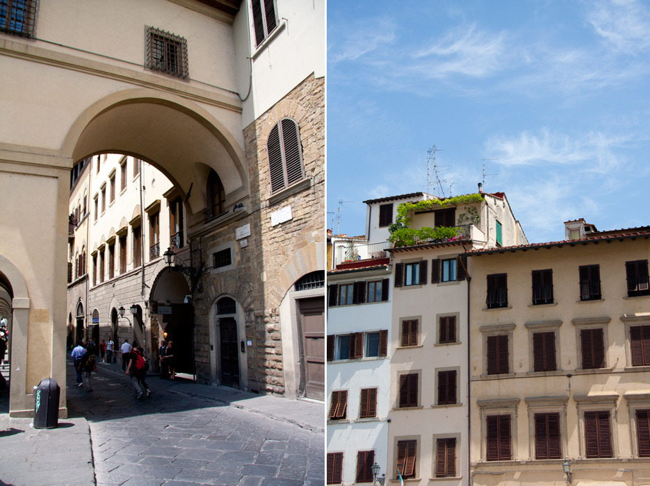 FLORENCE, ITALY 2011 the left image is the archway to the entrance of the Ponte Vecchio (covered bridge). the right image is of the houses along the Arno River.