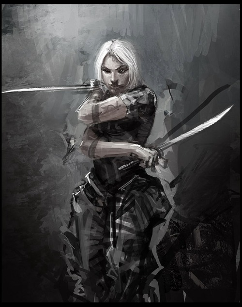 womenfighters:  A modern swordswoman, I like the painterly style to this one. It's from an Italian cyberpunk RPG, I think, but can't find the artist. Actually on the ball w/ queuing these up this morning, my brain was failing yesterday and I imagedumped everything all at once, sorry about that.