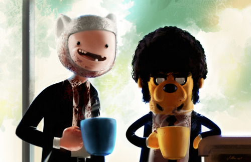 "PULP FICTION x ADVENTURE TIME   ""The path of the righteous man is beset on all sides by  the inequities of the selfish and the tyranny of evil men. Blessed is he  who, in the name of charity and good will, shepherds the weak through  the valley of the darkness, for he is truly his brother's keeper and the  finder of lost children. And I will strike down upon thee with great  vengeance and furious anger those who attempt to poison and destroy My  brothers. And you will know I am the Lord when I lay My vengeance upon  you."" Ezekiel 25:17"