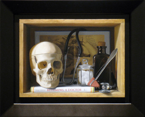 "Jorge Alberto, ""Becoming A Doctor,"" Oil on Panel, 8.5"" x 11"""