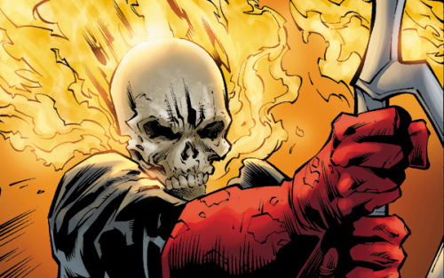 Sneak peek at a panel from an issue of Ghost Rider I recently completed. Who doesn't like flaming skulls?